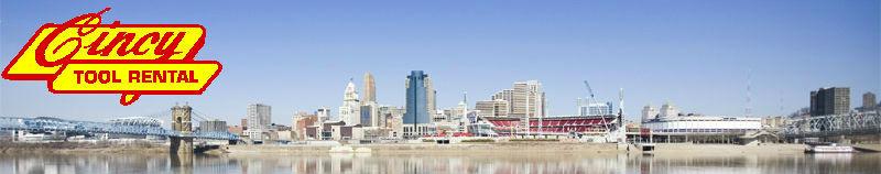 Cincy Tool Rental logo with Cincinnati Backdrop